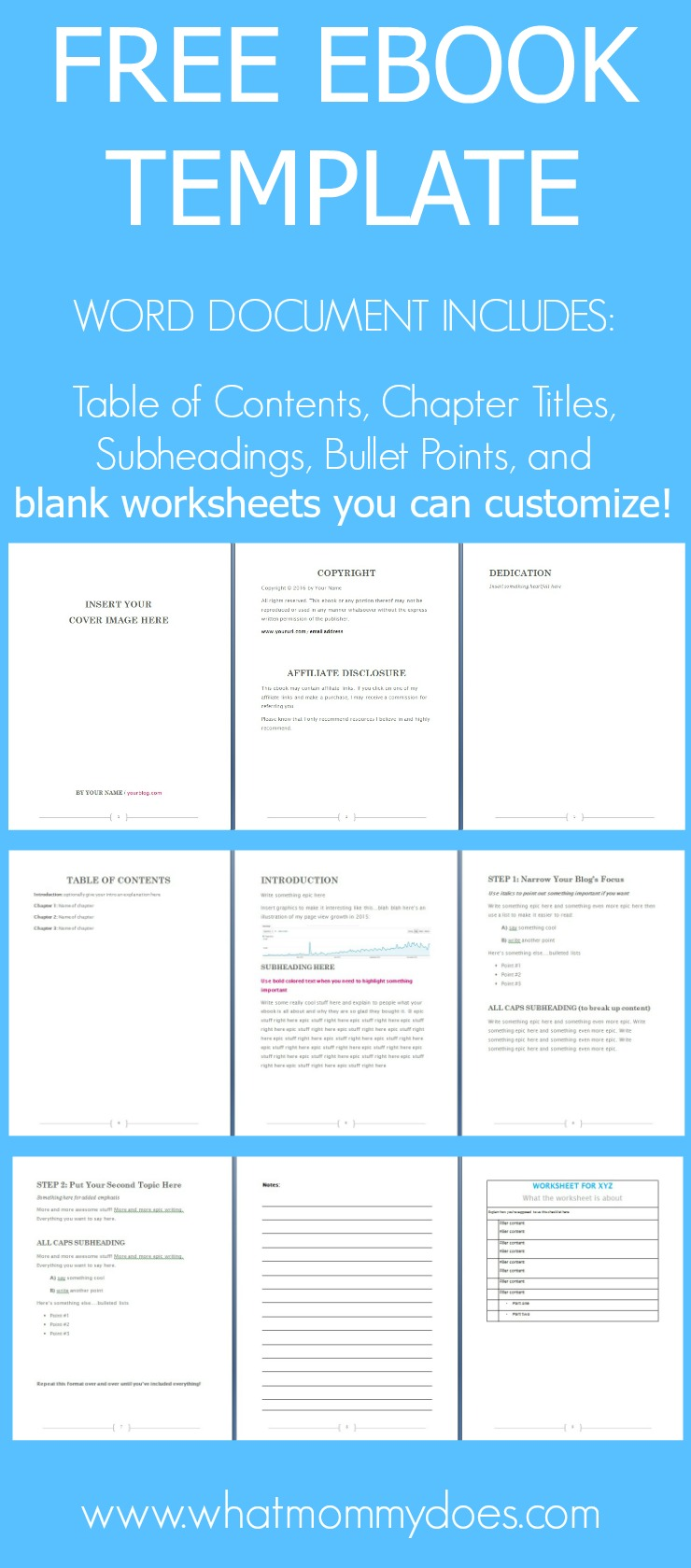 free ebook template - preformatted word document
