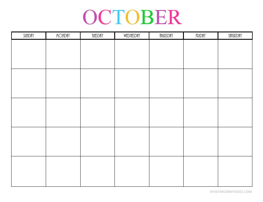 Free Printable Blank Monthly Calendars - 2017, 2018, 2019, 2020+