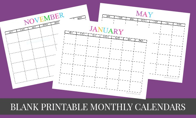Free Printable Blank Monthly Calendars 2017 2018 2019