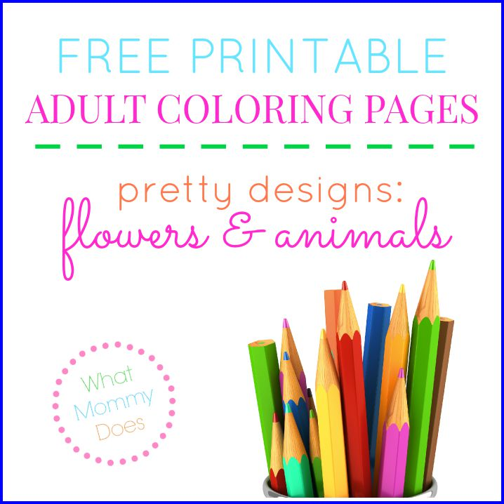 Free Printable Flower Animal Adult Coloring Pages