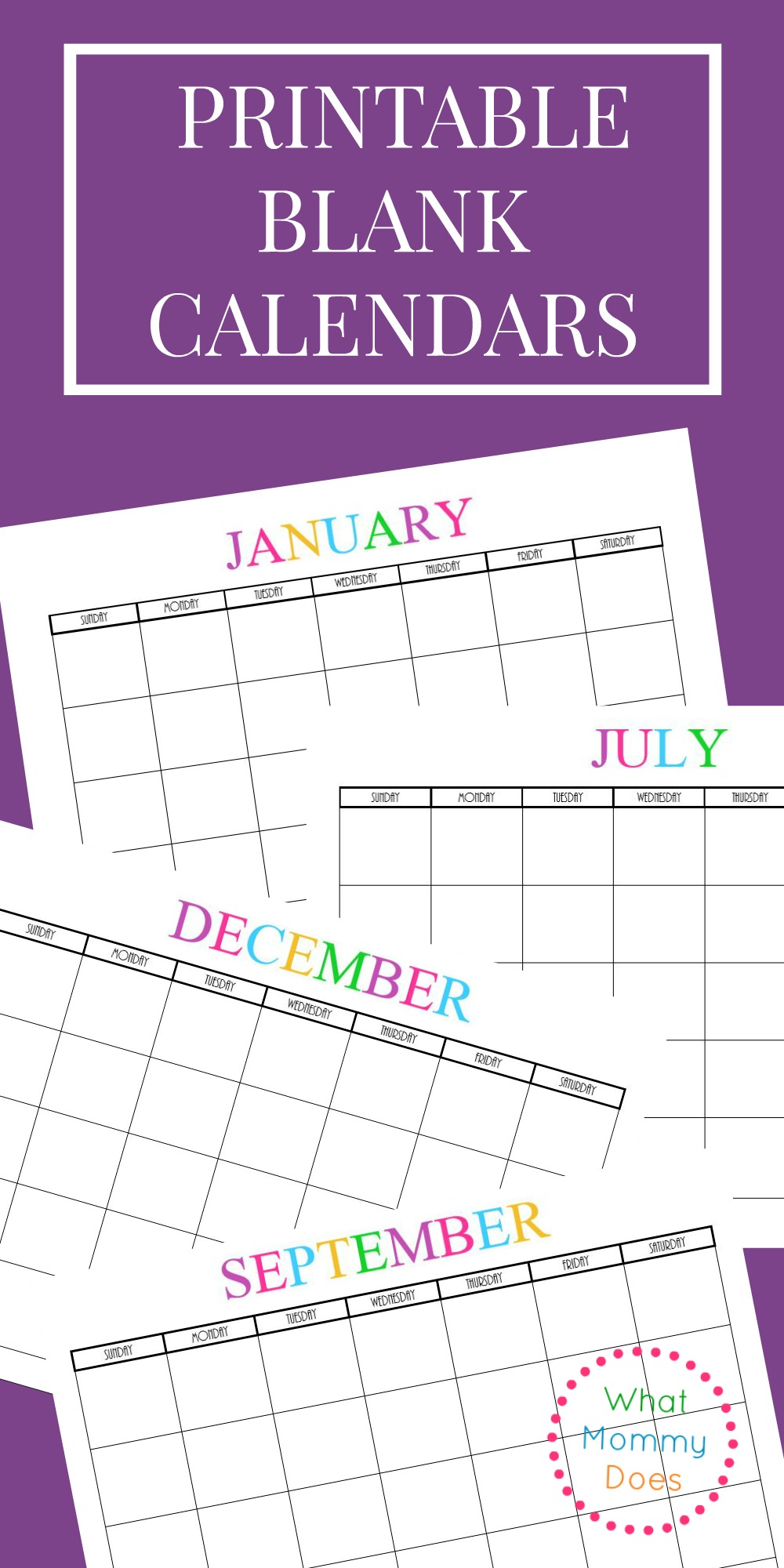 love this cute fun printable blank calendar set i could use it this year