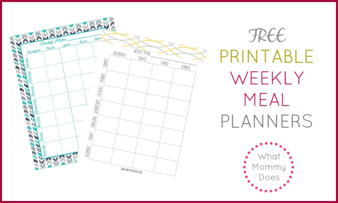 What Mommy Does  Free Menu Planner Template