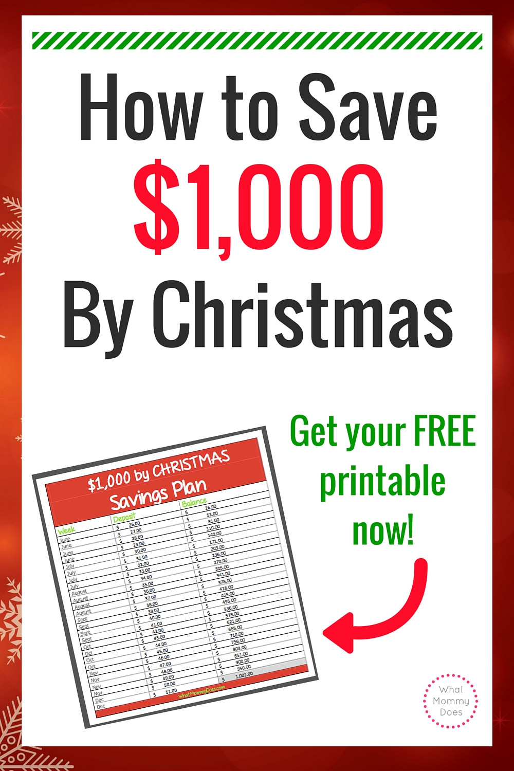 26-Week / Extra $1,000 by Christmas Savings Plan | What Mommy Does