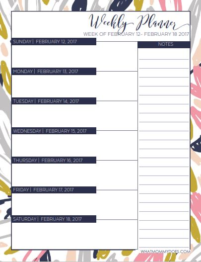 planner weekly layout