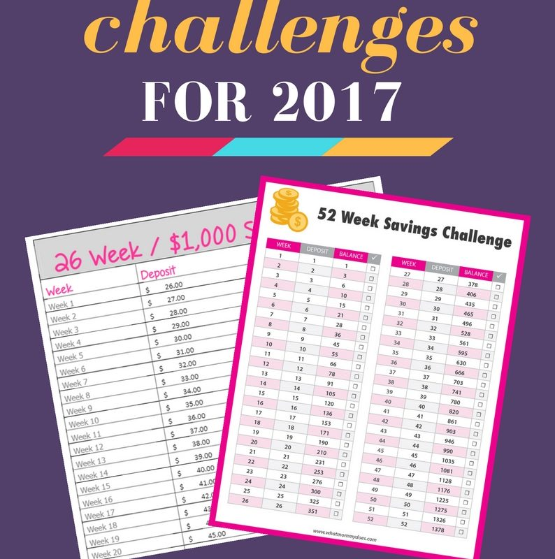 Take these MONEY SAVING CHALLENGES in 2017! This includes free printable 52-week money saving challenge, a 26-week money saving challenge to help you save $1,000 and more. These are fun ideas to help you save money for Christmas or anything else! One chart starts with $1 and ends with $52. You'll end up with $1,352!!! The charts make it super simple to achieve your savings goals. | 2017 money ideas, 2017 goals, money saving ideas