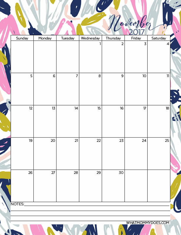 Free 2017 Calendar Printable - November one page printout perfect for keeping track of family schedules & kids school activities.