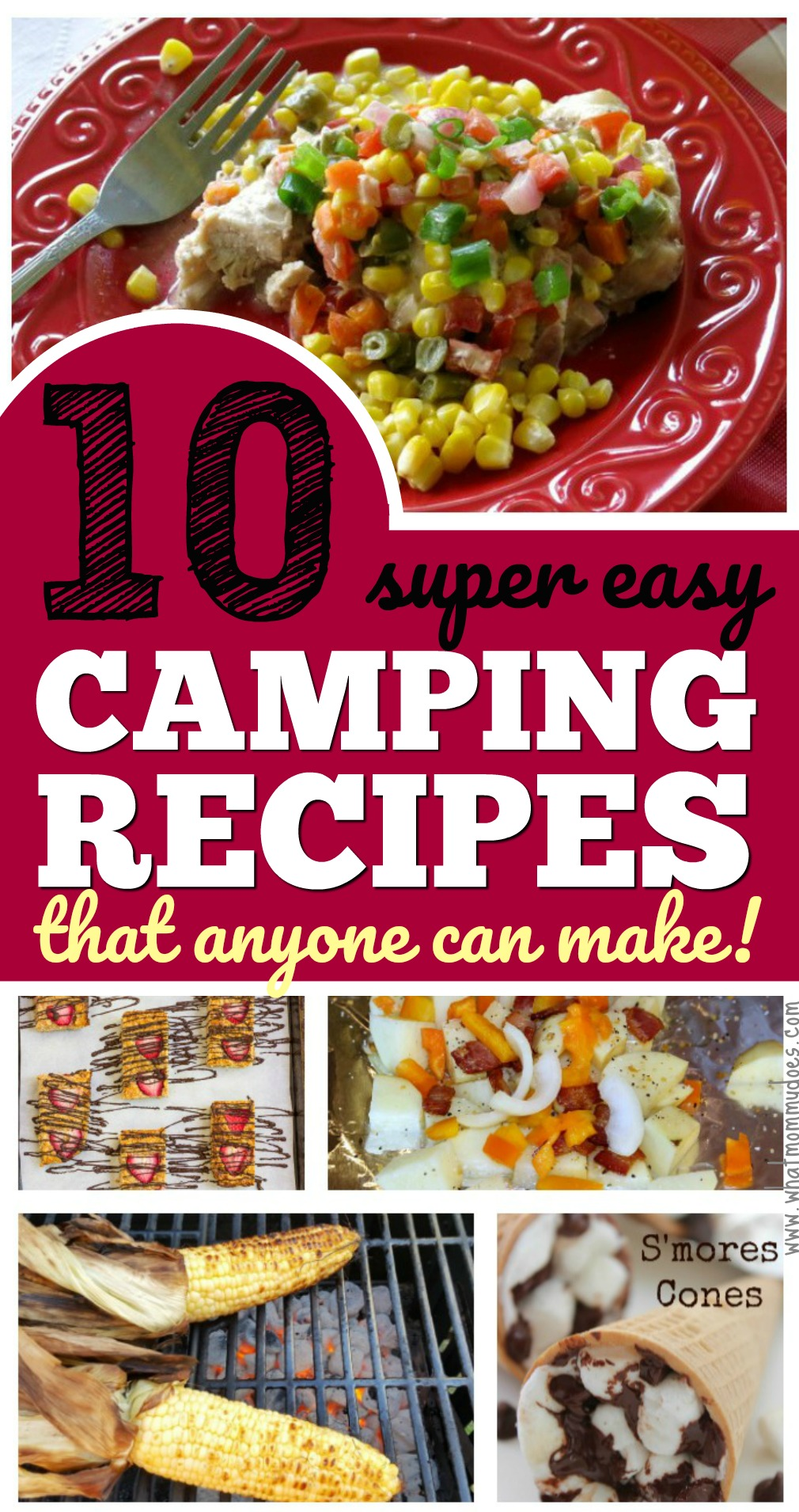 Cooking over the campfire is easy if you plan ahead! These are 10 easy campfire food ideas practically anyone can make - including foil packet dinners, potato + smores recipes for the fire, make ahead dessert bars (could also be breakfast) & dinner ideas. Prep is so quick for all of these! | best campfire recipes