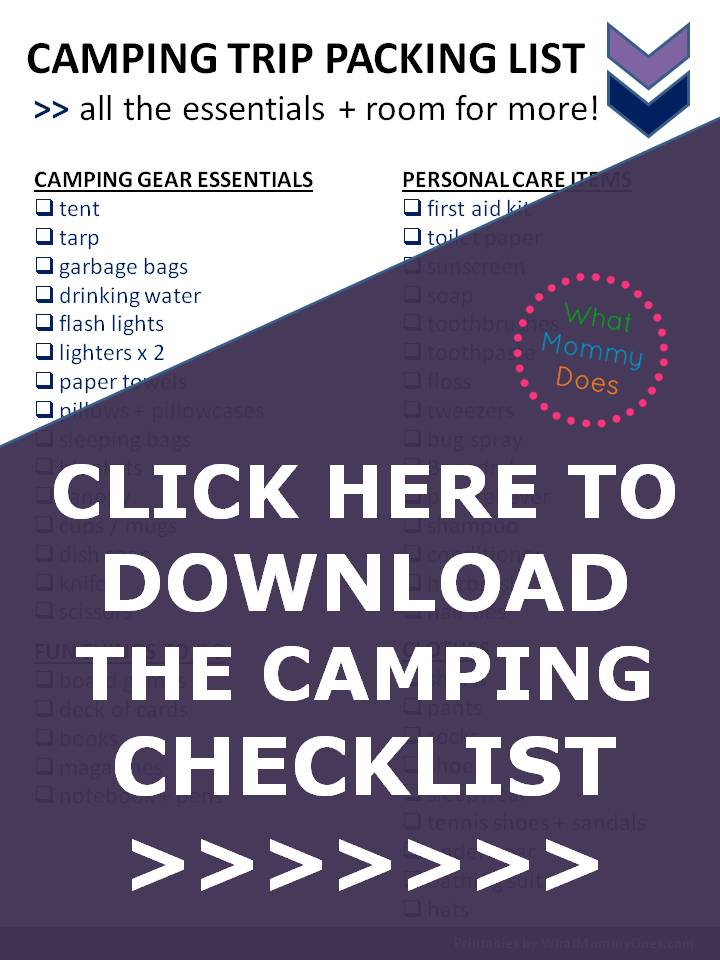 With this packing list, you will be SUPER PREPARED for your next camping trip! It lists all the essentials to bring with you for the weekend so you can relax + have a good time....from camping gear to first aid items. I would have forgotten some of these things! This girl goes camping a lot with her kids so she knows what she's talking about... WEEKEND FAMILY CAMPING TRIP CHECKLIST (PDF) TO DOWNLOAD   family camping tips & ideas series, free printable packing list