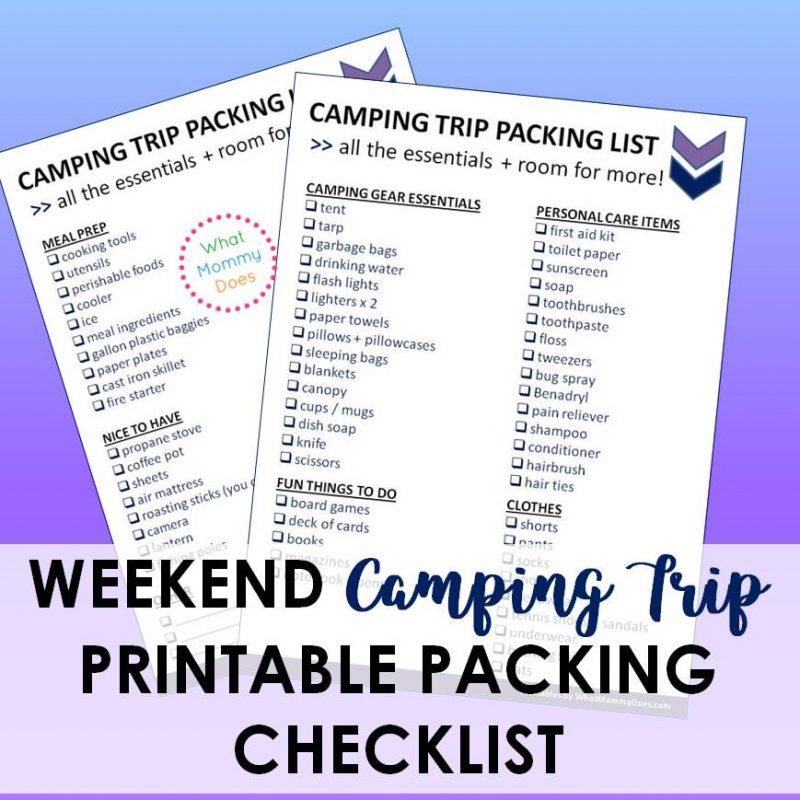 what do you take camping checklist printable - PDF file