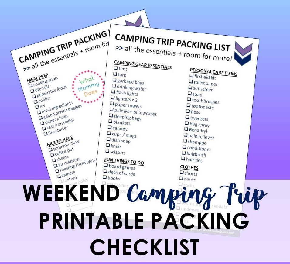 printable camping trip checklist