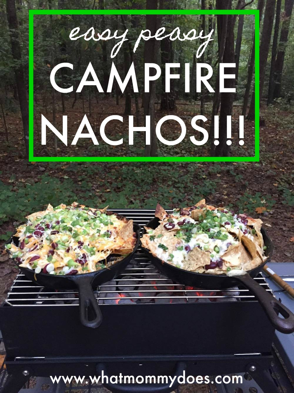 Nachos for our camping trip? Check!! This was the easiest starter for our camping dinner! We used black beans and Cabot cheese, then covered the cast iron skillet w/ foil to melt the cheese faster. Here's a full list of ingredients so you can make them too! You could also do it in a dutch oven or aluminum pan, on the fire or on a propane stove. | easy cast iron campfire nacho recipe, camping meal ideas