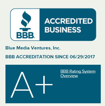 Survey Junkie review on the BBB - the Better Business Bureau gave Blue Media Ventures an A+ rating!