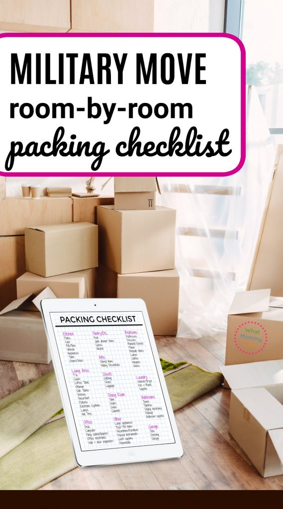 Download the Free Military Move Packing Checklist - I really appreciated this list of tips from an experienced military wife. I've been so worried about our first military move b/c my husband already left ahead of me. I'm using her checklist + tips to stay organized! | PCS moving tips, military move checklist, room by room home packing tips, quickly move out of state
