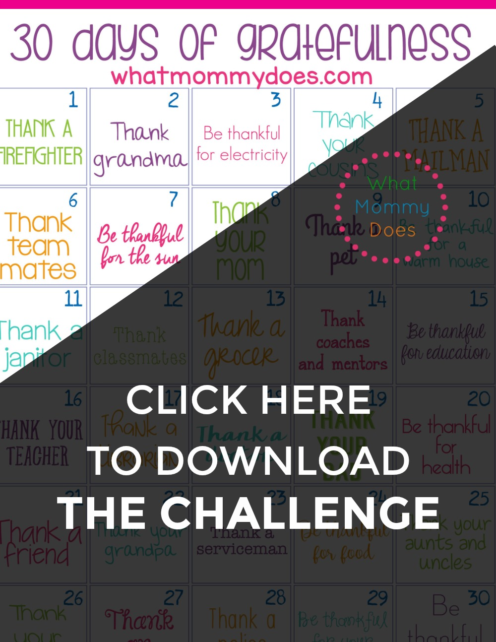 Gratitude Ideas for Kids - I'm worried that my kids are becoming entitled, so I've been looking for a checklist like this! This is such an easy thing to do & teaches kids to be grateful for what they have in life by showing appreciation for others. | thankful children, attitude of gratitude, 30 days of gratitude activities