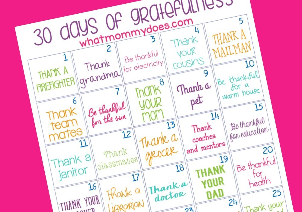 Simple 30 Day of Gratitude Challenge for More Thankful, Appreciative Kids