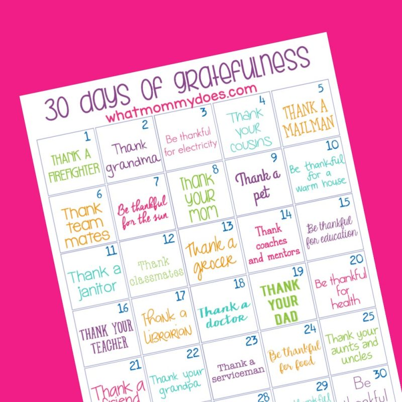 how to teach gratefulness to children - free printable challenge