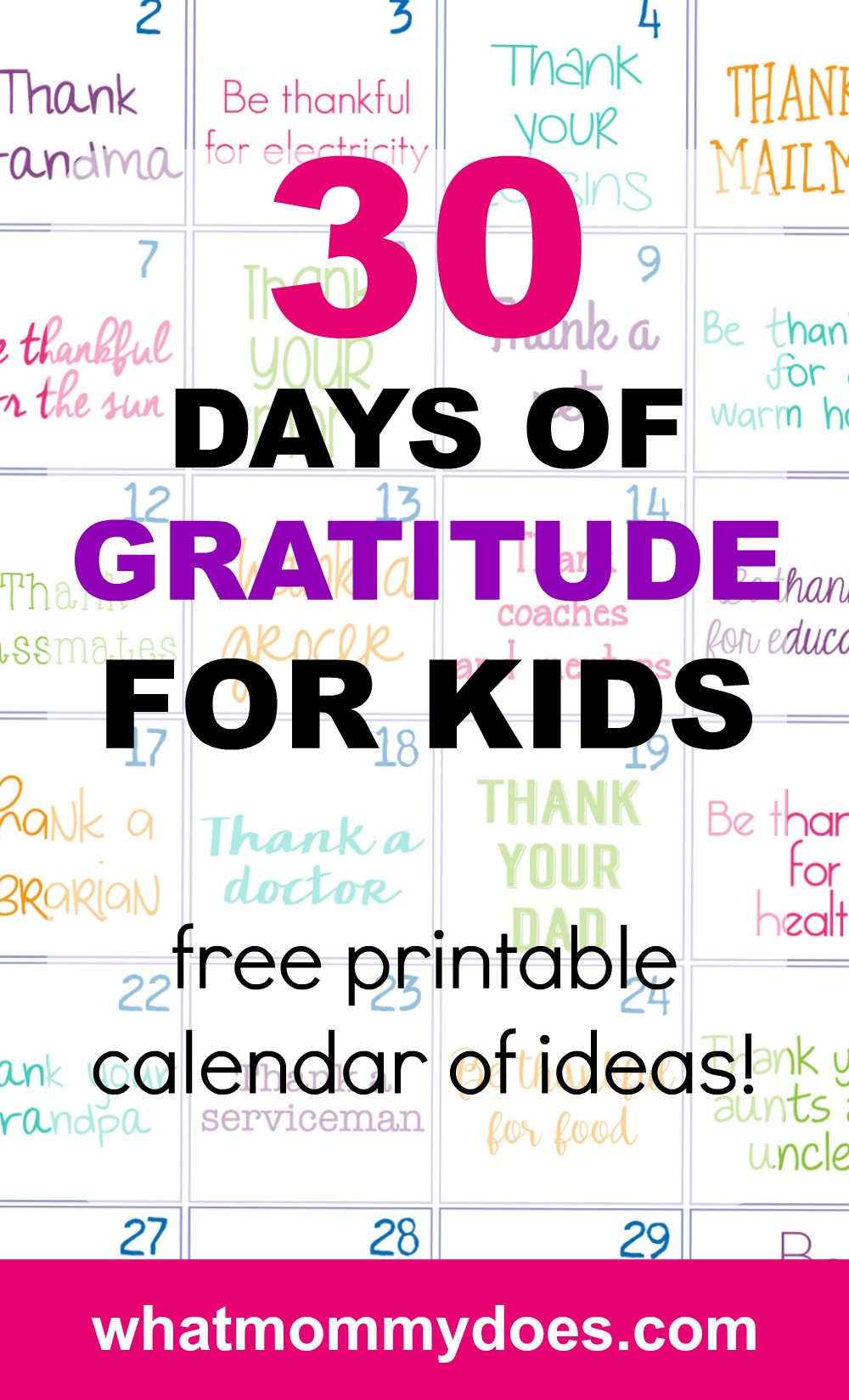 This works for teenagers AND little kids. I was so surprised at how much they liked this challenge! Nobody is too old to show how grateful they are for another person. Grab this list, put it on your fridge, and do it as a family! In 30 days, you'll all grow in appreciation for the life you have together #parentingtips #stayathomemom #parenting #kidsactivities