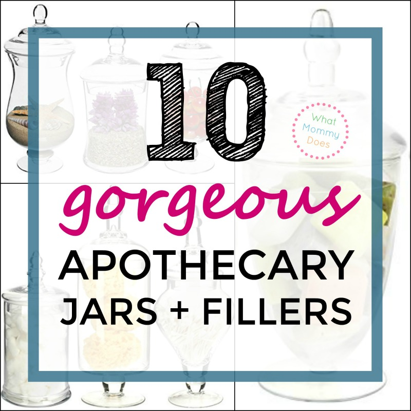 10 Gorgeous Apothecary Jars + Fillers - apothecary jars and fillers like sand, cotton balls, fruit