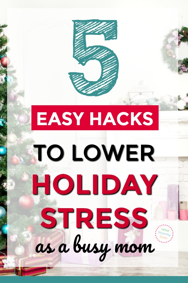 Do the holidays stress you out?! It's easy to get flustered as a busy mom, so here are 5 helpful hacks to minimize Christmas related stress, including the EASIEST HOLIDAY APPETIZER under the sun that you can take to EVERY party! These tips will help you get through the holidays with less anxiety. #holidaystress #anxiety #moms #stressmanagement #christmasstress