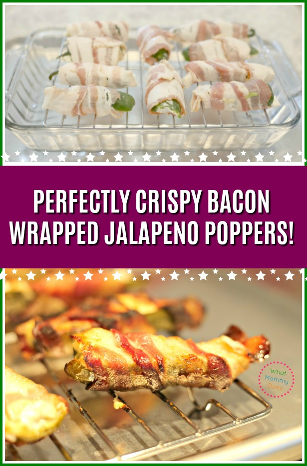 You won't BELIEVE how easy it is to get perfectly crispy bacon wrapped jalapeno poppers every time!! Cooked in the oven & stuffed with cream cheese - these are SO GOOD I almost can't stop myself from taste testing 10 of them before taking these to a holiday party. It's the easiest appetizer when you do it this way! #holidayparty #appetizers #lowcarb