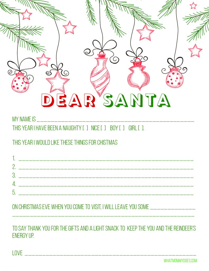 Free Printable Dear Santa Letter - such an adorable idea for kids this Christmas! They can put their Christmas wishlist on here and even mail it to the North Pole (see info on address here)