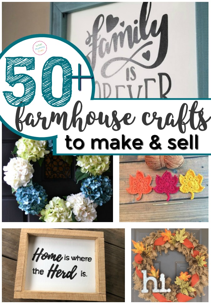 JoAnna Gaines' farm house look is SO POPULAR right now! Here are over 50 DIY farmhouse crafts you can make + sell at craft fairs or flea markets! It's a long list of easy project ideas…all super simple things even kids & teens could make. Selling home decor from spring burlap wreaths to wall art is a great way to make extra money from home as a stay at home mom!