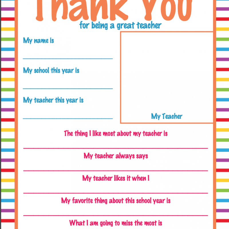 Free printable - thank you for being a great teacher PDF