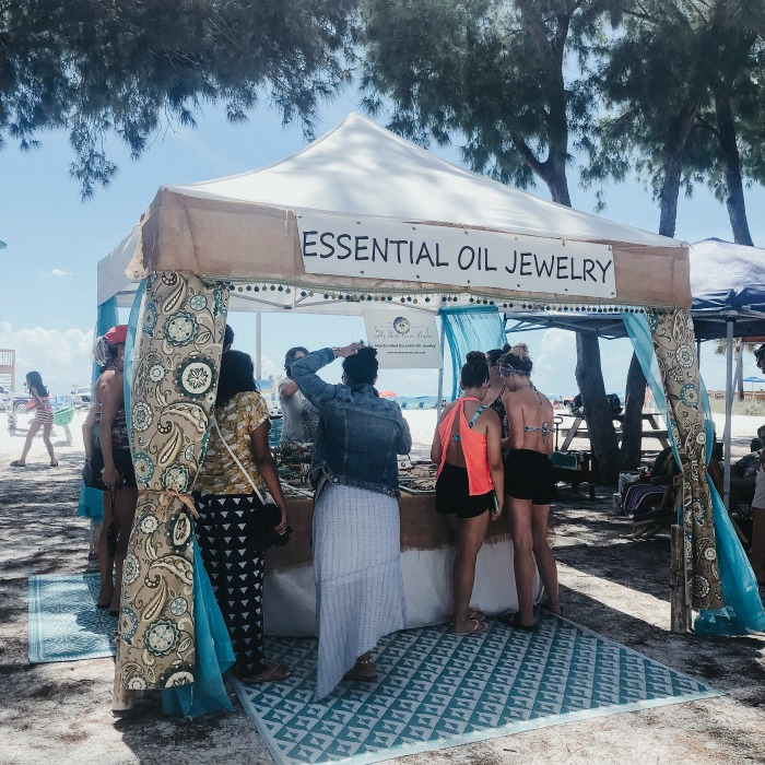 Essential Oil Jewelry was the hottest selling thing at this open air flea market on Anna Maria Island!